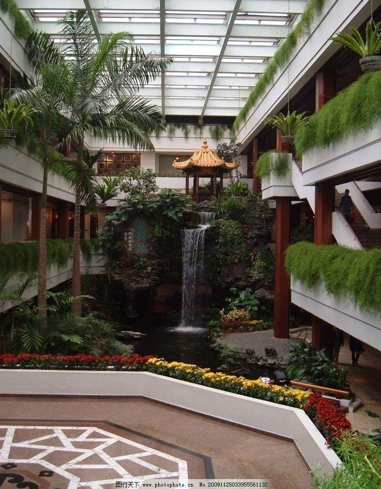 瀑布 水景 园林 5星级 五星级 酒店 著名 老牌 宾馆 景观 飘台 楼梯