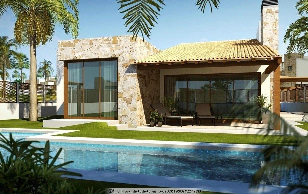 建筑      泳池 别墅 无人 沙滩椅 南美 晴朗 日景 树 建筑设计 建筑