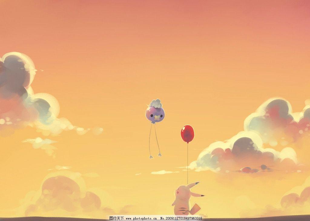 漫画素材3 可爱 背景 黄色 皮卡丘 卡通 气球 风景漫画 动漫动画 设计