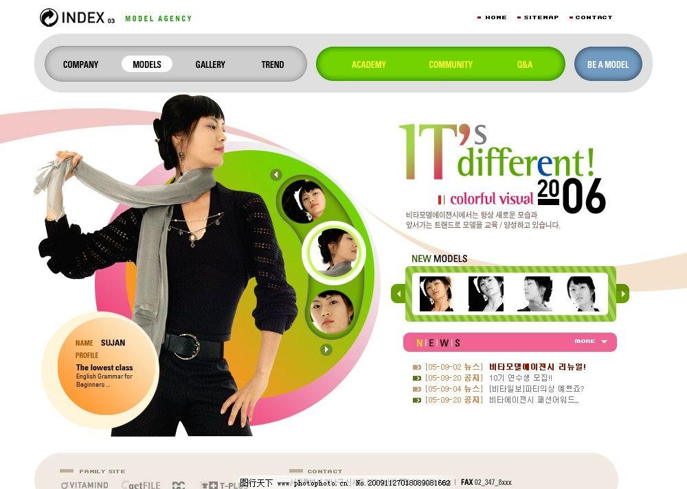 女性model信息介绍韩国网页模板 韩国网站设计 网页设计 全站设计