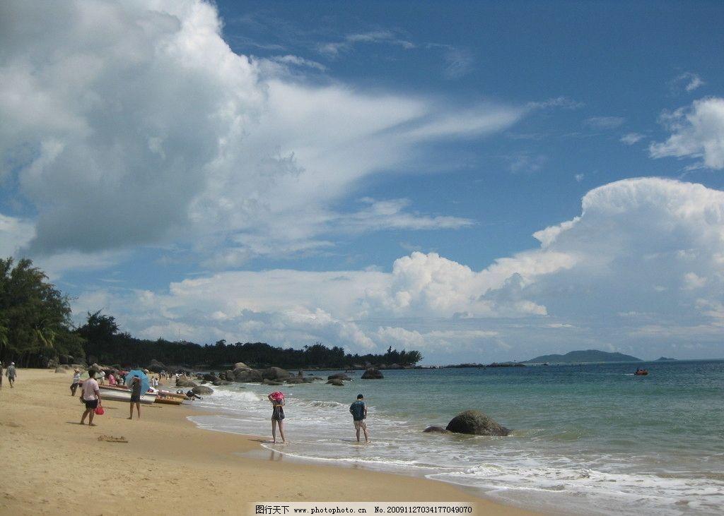 海南风光 大海 蓝天白云 沙滩 人物 海南岛 三亚 自然风景 旅游摄影