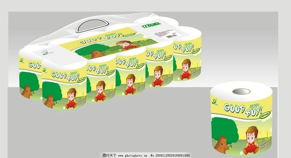 纸巾 包装 卷纸 卡通 好孩子 小孩 柔软 树 花 草丛 包装设计 广告