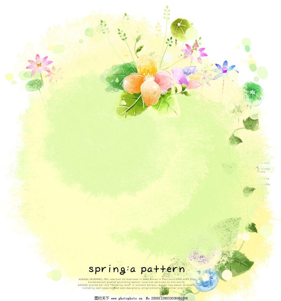 黄绿底色的花纹图案图片