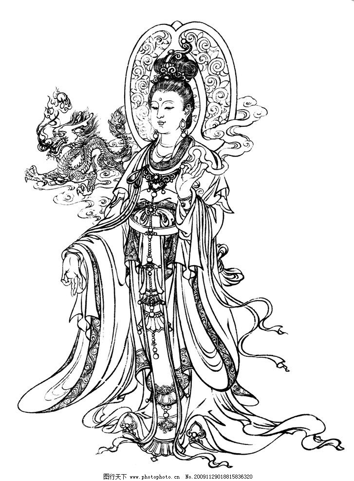 观音 工笔白描 国画 绘画 线描 仕女 神话 民间故事 白描人物 传统