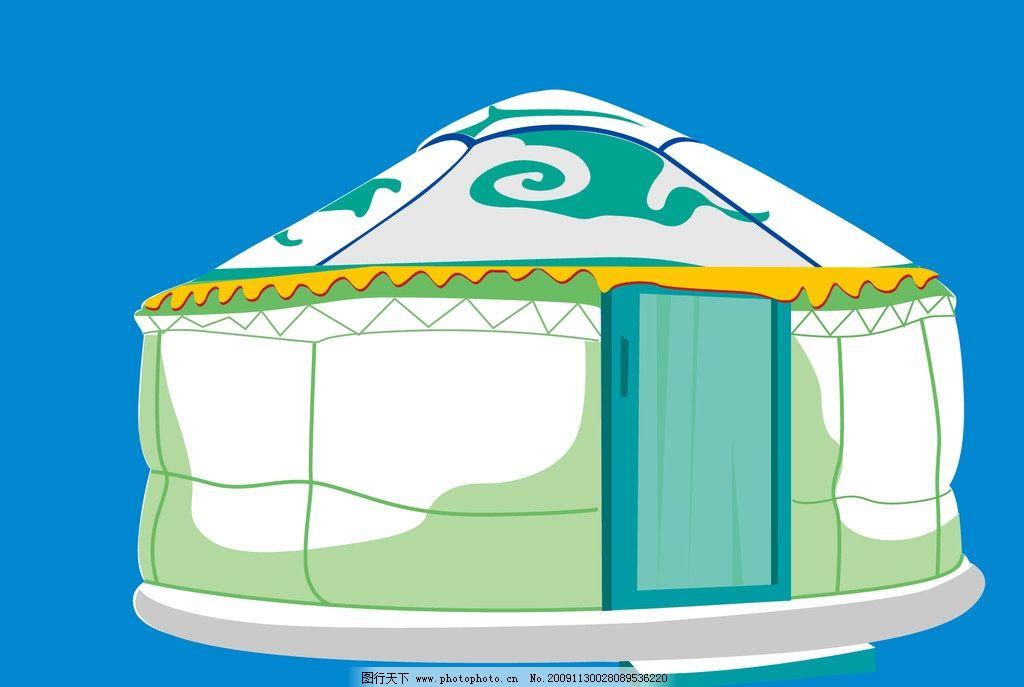 蒙古包简笔画-广府传统建筑壁画