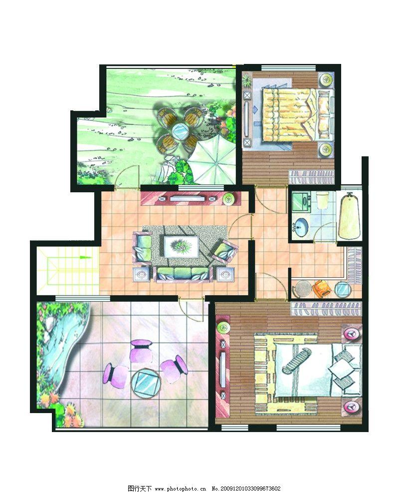 室内平面图 户型 彩图 彩色装配图 装饰 源文件