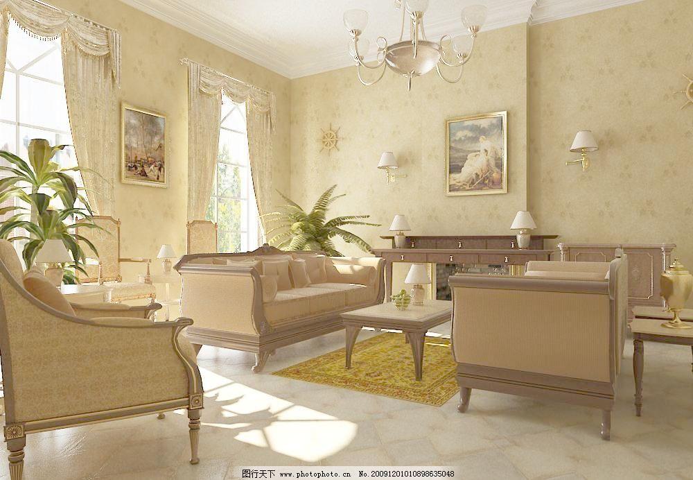 欧式客厅模型图片