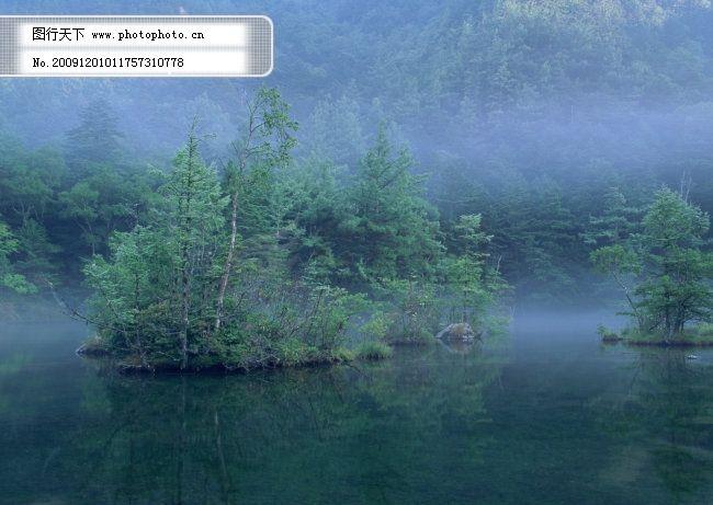 山水风景 晨雾 村庄 风景背景 风景画 河流 湖泊 湖景 湖面