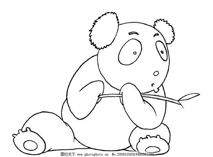 线条熊猫 熊猫 熊猫吃竹子 大熊猫 小熊猫 竹子 野生动物 生物世界