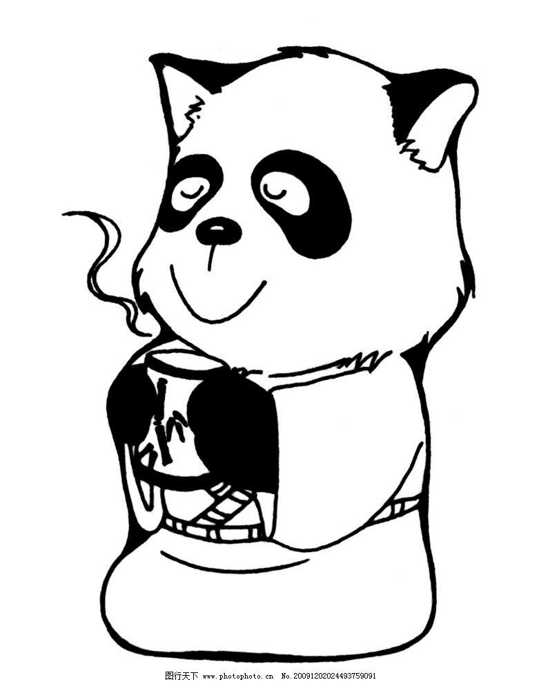 线条熊猫 熊猫 熊猫喝茶 熊猫喝水 大熊猫 小熊猫 茶 水 野生动物