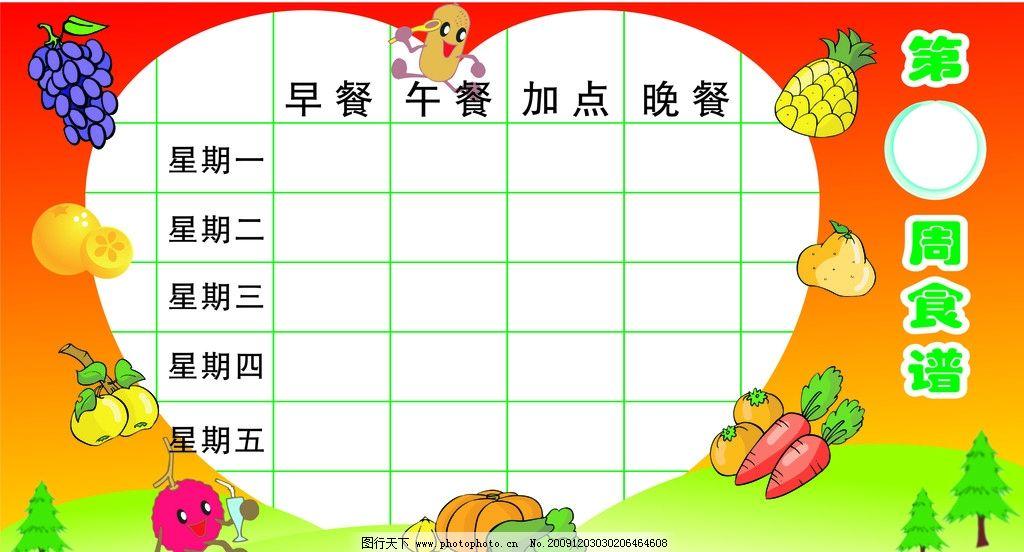 幼儿园食谱 草地 卡通小孩 水果 红色背景 心型图案 文字 展板