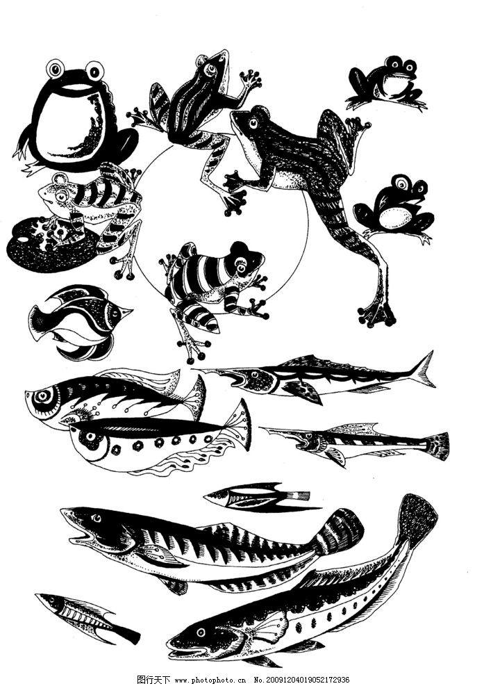现代装饰动物图案01 装饰图案 白描 黑白图 家禽 飞鸟 飞禽