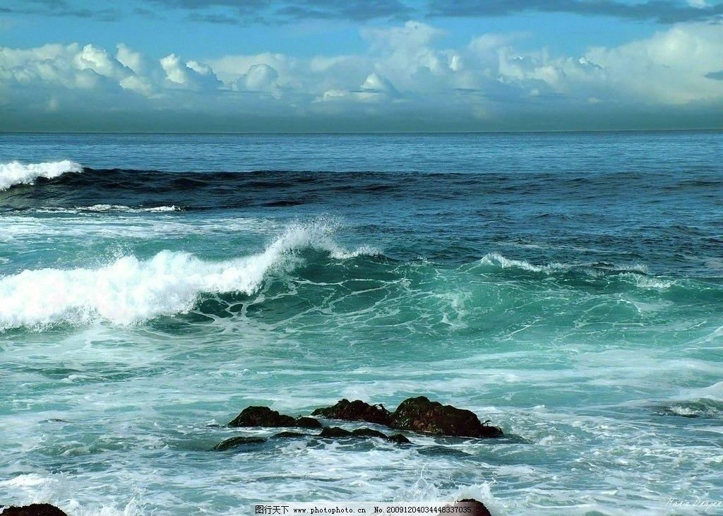 海浪 大海 石头 水 背景 山水风景 自然景观 摄影 72dpi jpg