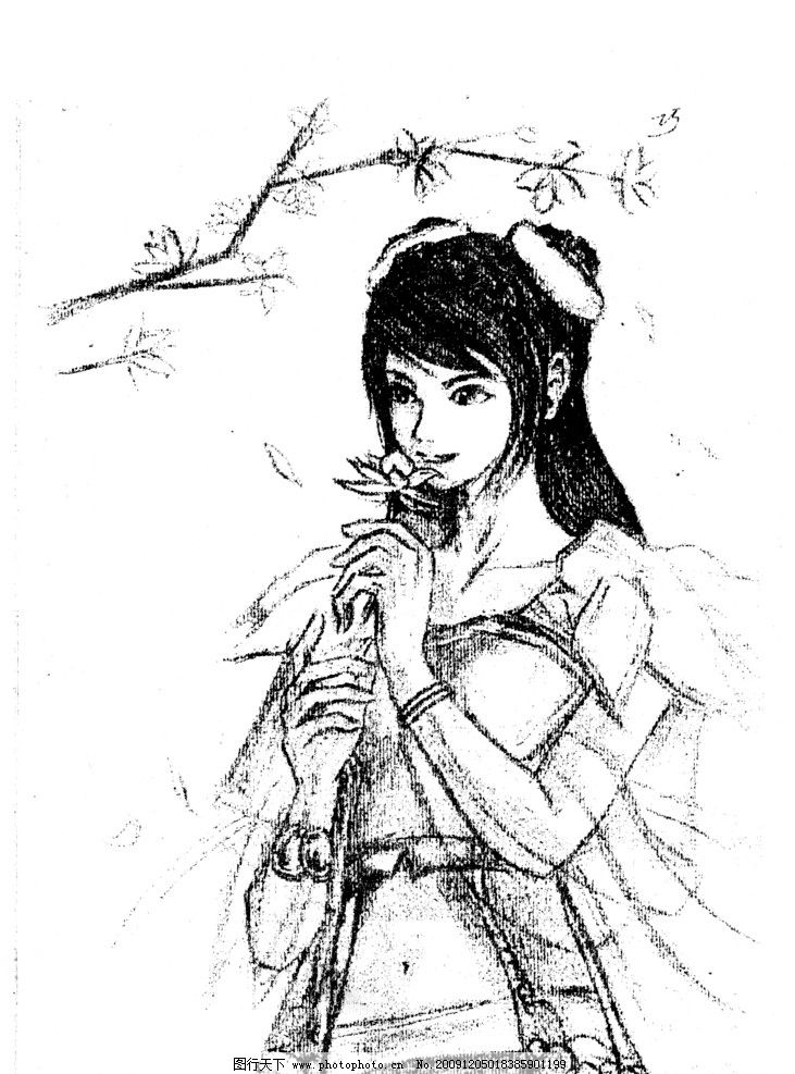 美女 手画 手绘 黑白美女 灰色美女 桃花 简单图 女孩拿花 其他