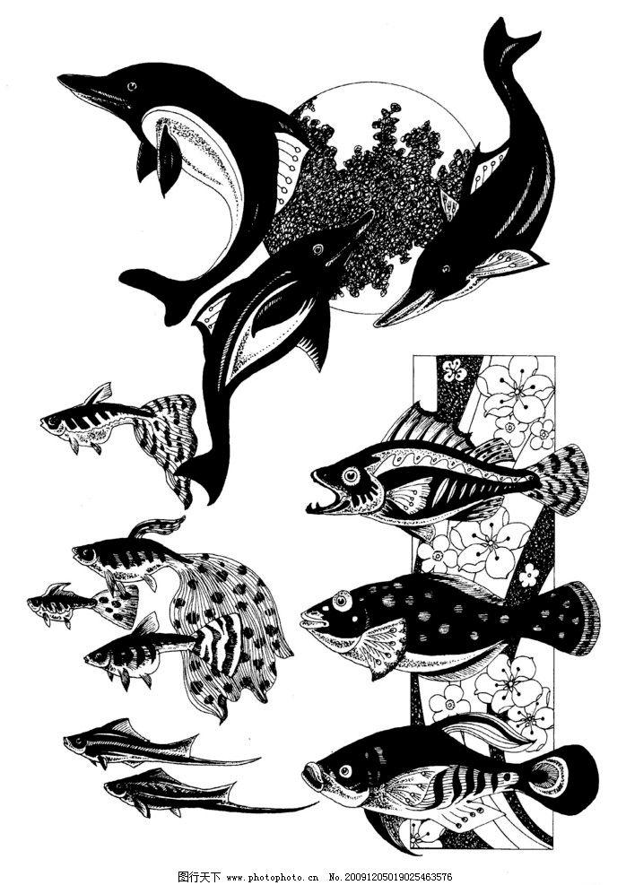 现代装饰动物图案20 装饰图案 白描 黑白图 家禽 飞鸟 飞禽