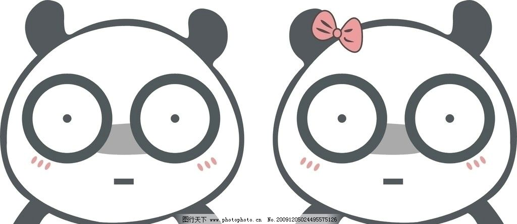 熊猫 熊猫头像 情侣头像 可爱 无语 邪恶 鄙视 表情 线条熊猫