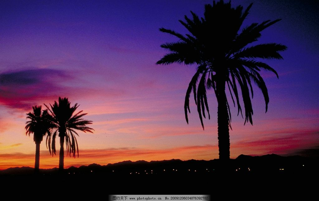 黄昏时候的风景 天空 蓝紫色的