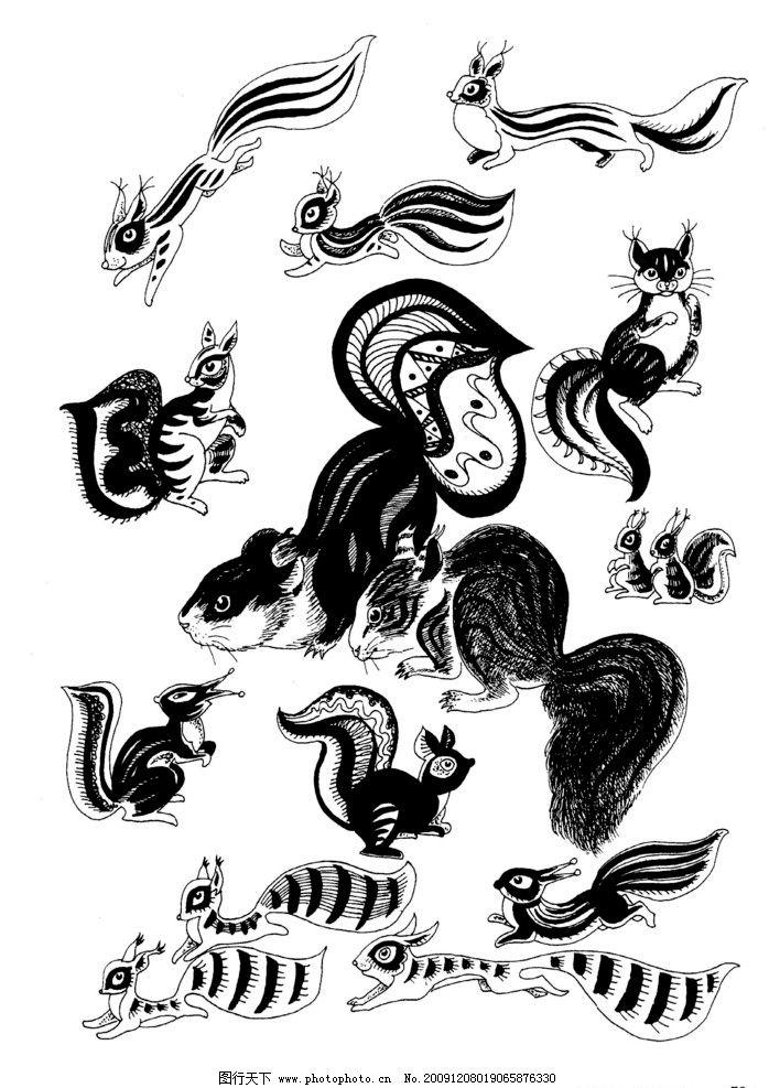 现代装饰动物图案27 装饰图案 白描 黑白图 家禽 飞鸟 飞禽