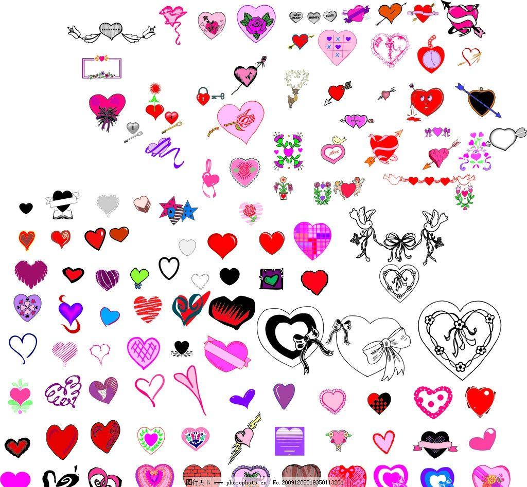 心形图案 可爱天使 小鸟 一箭穿心 箭头 花 情人节 节日素材