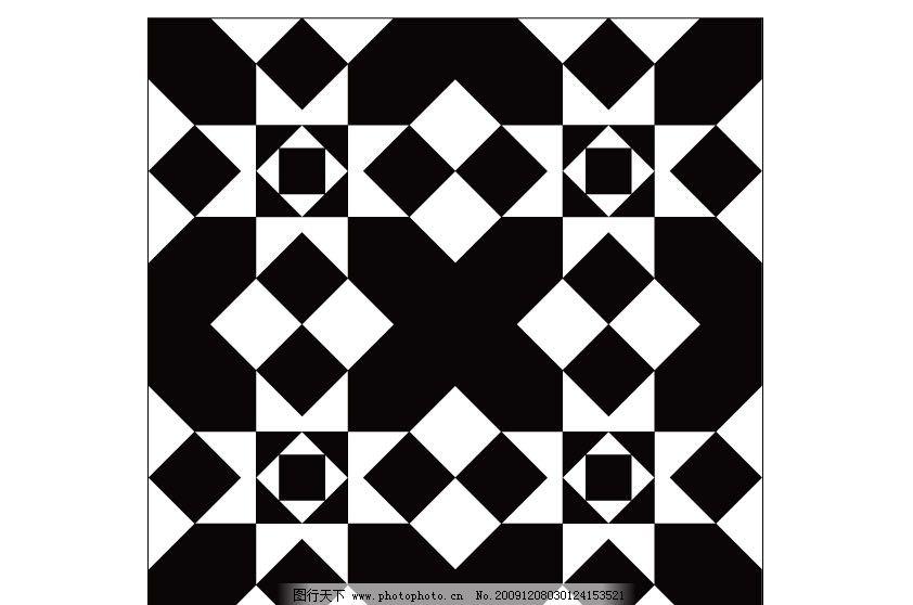 图形设计 正方形 黑白 不规则 移门图案 广告设计 矢量 ai-美克美家四联