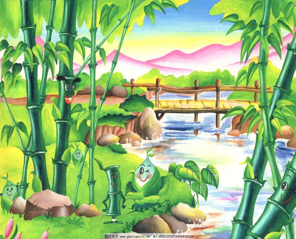 卡通漫画竹子风景图片