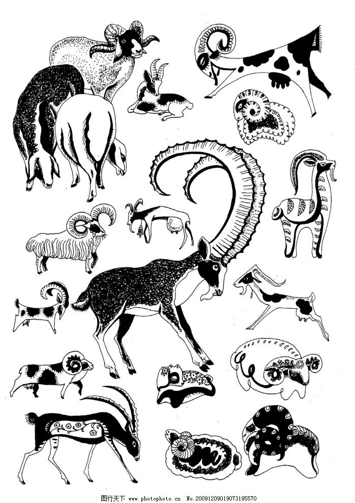 现代装饰动物图案 现代装饰 装饰图案 动物图案 白描 黑白图 动物