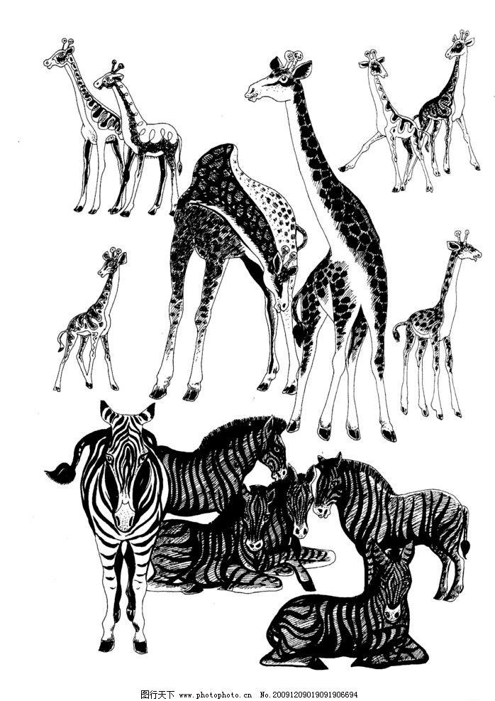 现代装饰动物图案 长颈鹿 现代装饰 装饰图案 动物图案 白描 黑白图