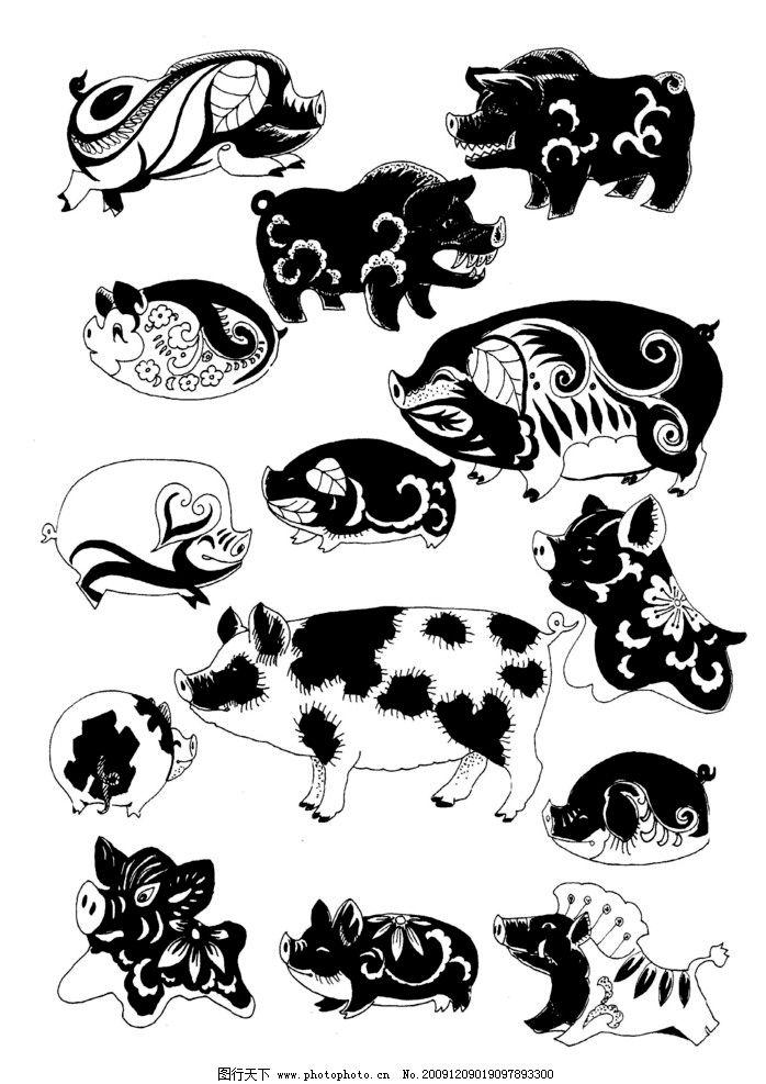 现代装饰动物图案 猪图片_绘画书法_文化艺术_图行