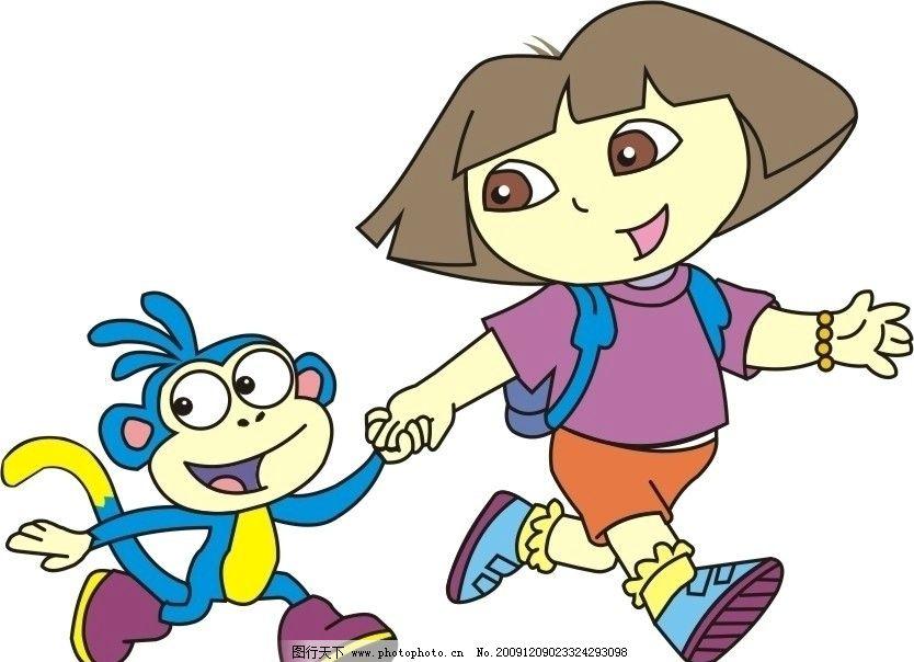 朵拉及猴子 卡通朵拉猴子 海棉宝宝 颜色 明星偶像 矢量人物 矢量 cdr
