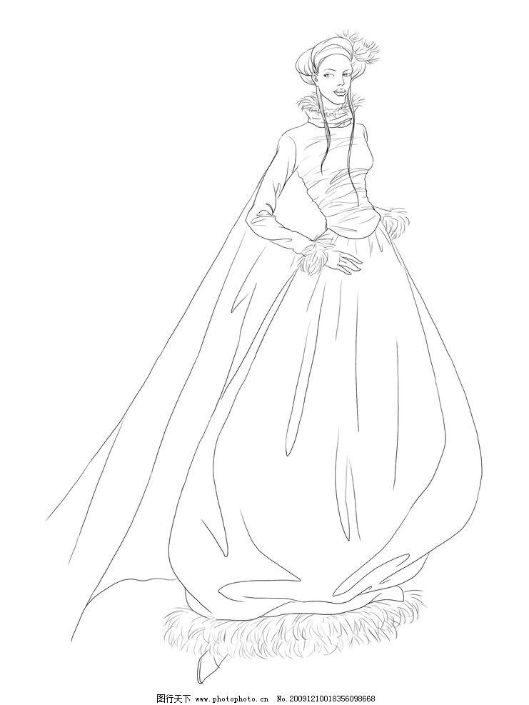 服装设计素材 女 女性 美女 妇女 素描 动漫动画