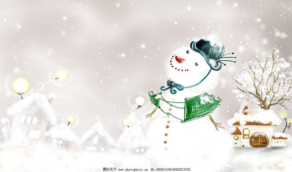 梦幻冬天背景 梦幻背景 冬天素材 冬天桌面壁纸 雪人 雪花 雪地