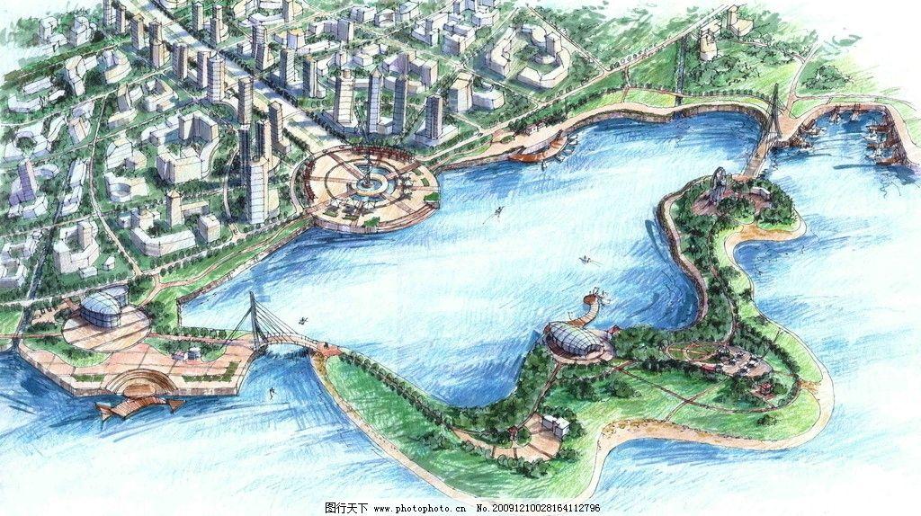 景观设计手绘效果图 景观 设计 手绘 鸟瞰 城市 建筑 河流 规划