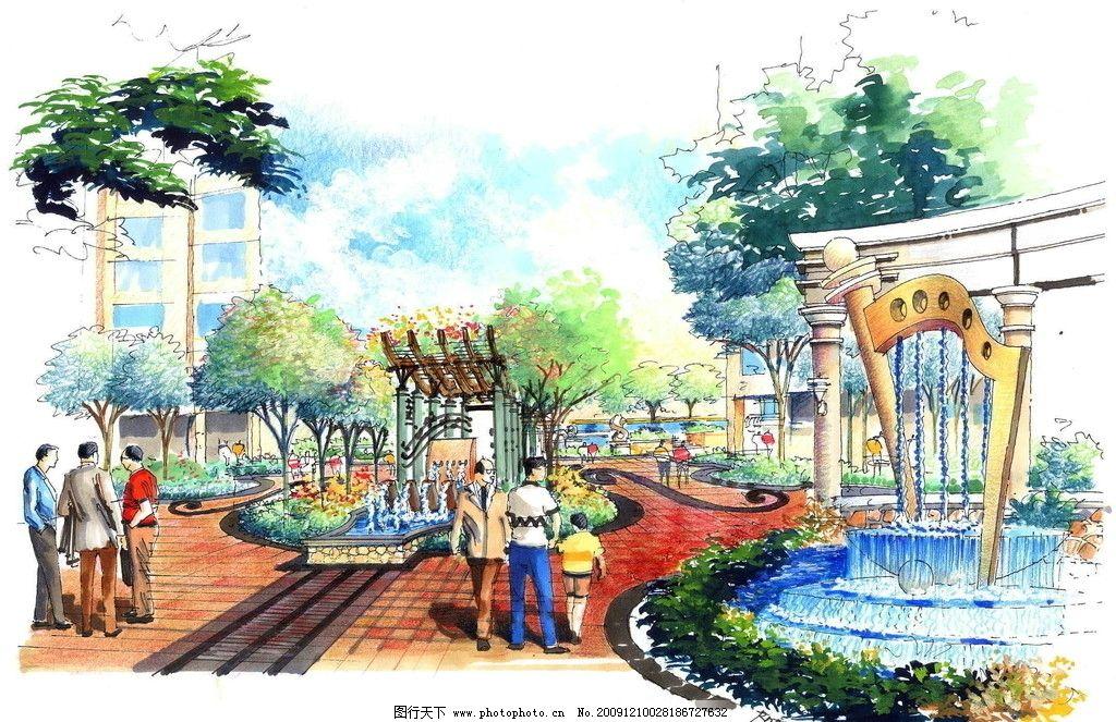 景观设计手绘效果图 景观 设计 手绘 树木 水景 凉亭 喷泉 花园