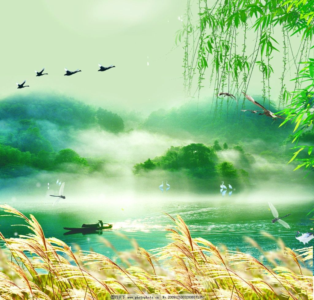山水风景 风景 山 湖 渔船 鸟 仙鹤 云 垂柳 树叶 芦苇 自然风光 psd