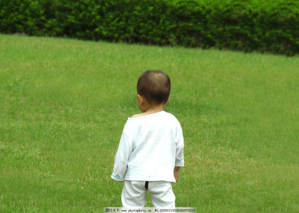 背影 小孩 儿童 草地 孤单 儿童幼儿 人物图库 摄影 300dpi jpg