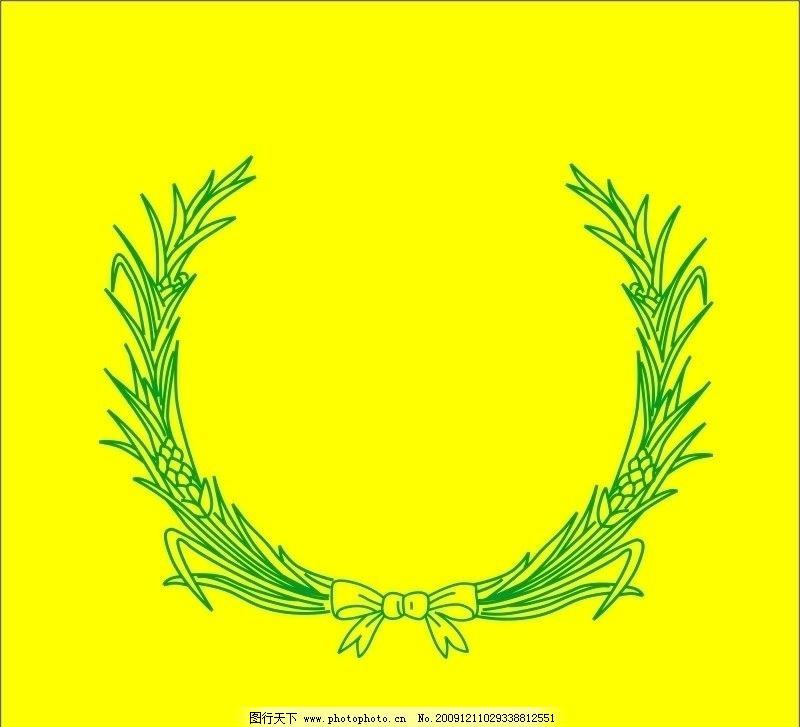 麦穗 稻穗 稻谷 小麦 底纹 花纹 花边 边框 条纹线条 绿色 logo素材
