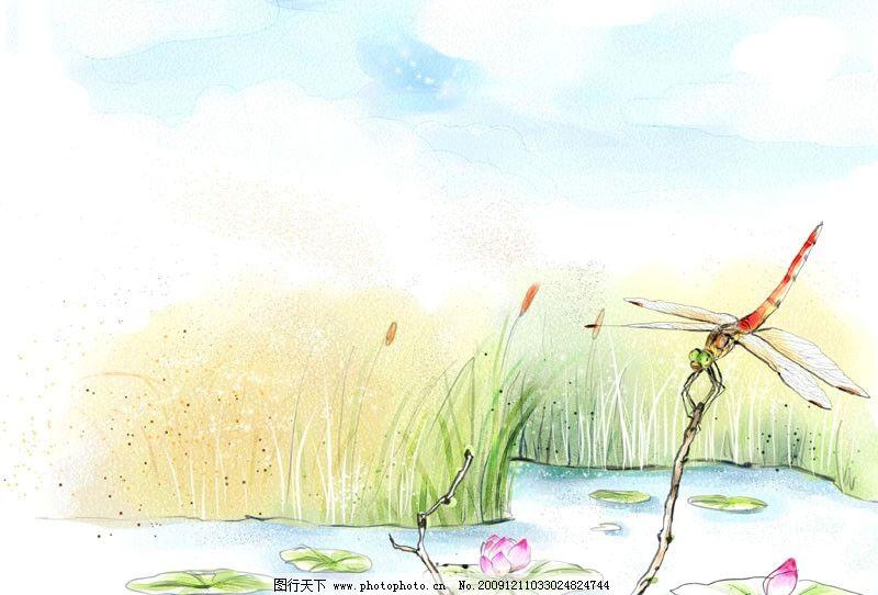 水彩风景插画 水彩画 风景 插画 荷叶 荷花 芦苇 蜻蜓 psd分层素材 源