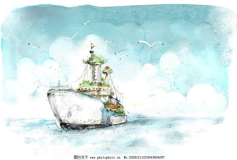 清新风格手绘轮船 手绘 清新 清爽 轮船 海洋 航行 海鸥 卡通 psd分层