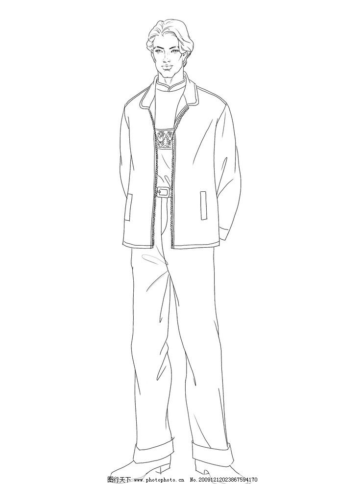 手绘现代男服装
