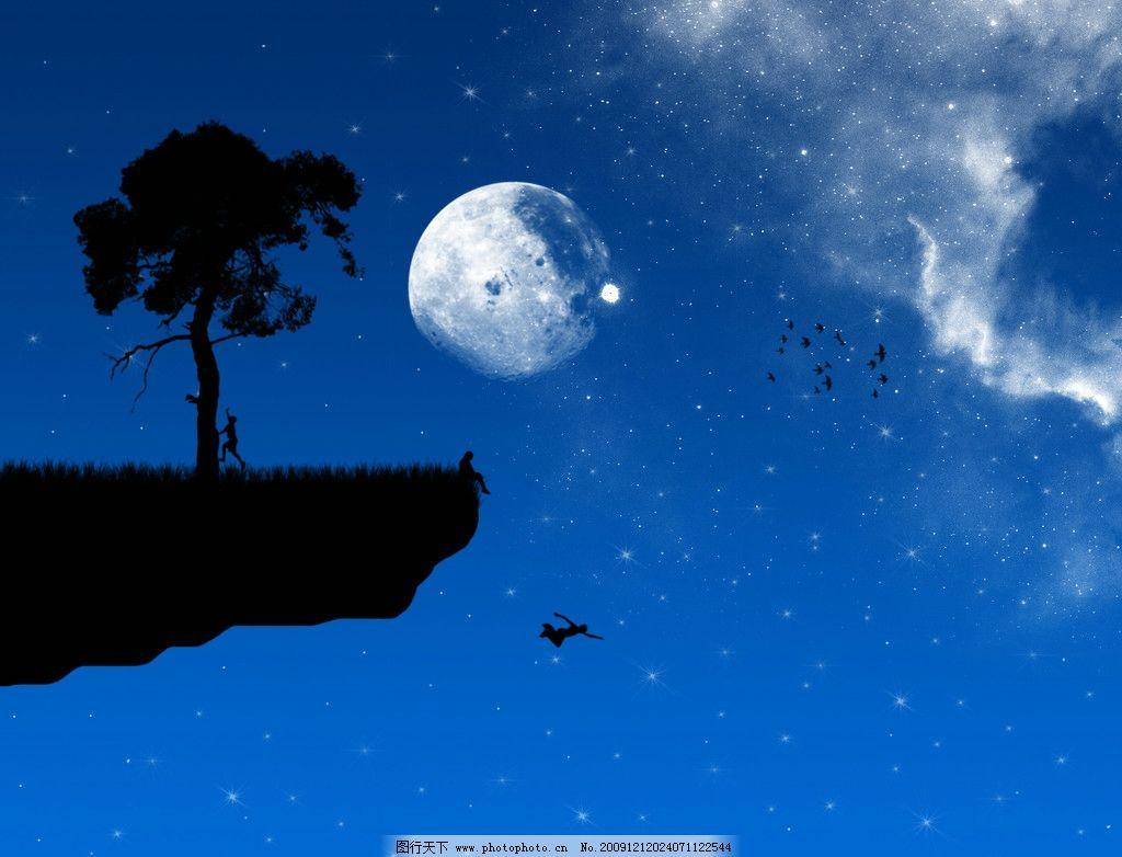 唯美意境 夜晚的天空 月亮 一棵树
