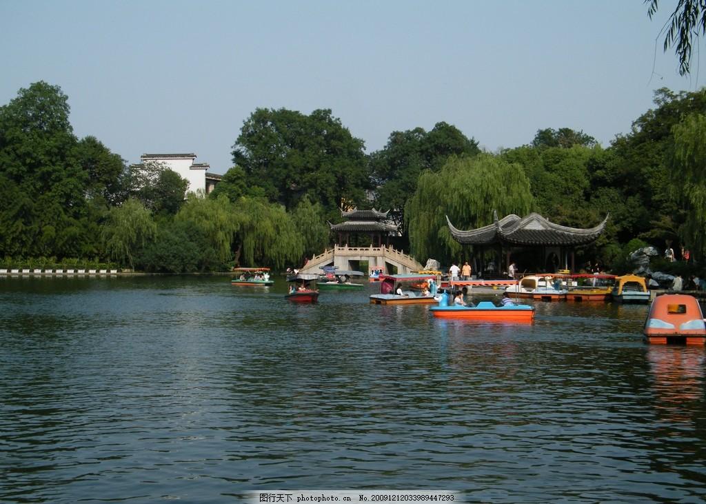 莲花庄 公园 园林 湖州 凉亭 大树 水船 摄影 风景 旅游