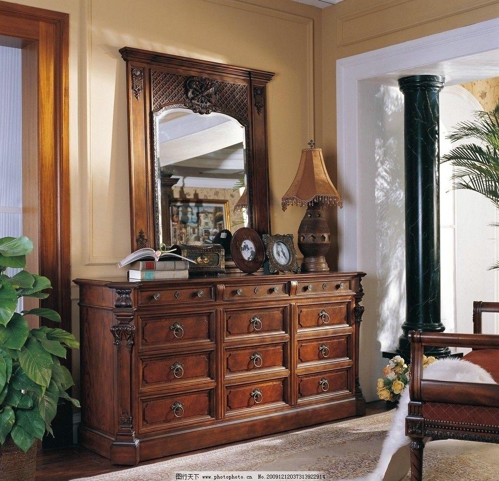欧式柜子镜子 欧式 家具 柜子 镜子 深色 台灯 椅子 350dpi jpg 家居