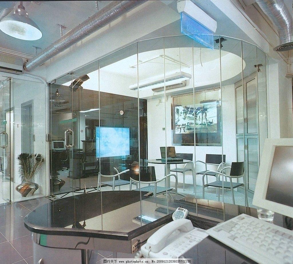 装修设计效果图 前台 办公室 电脑 电话 液晶电视 室内摄影 建筑园林