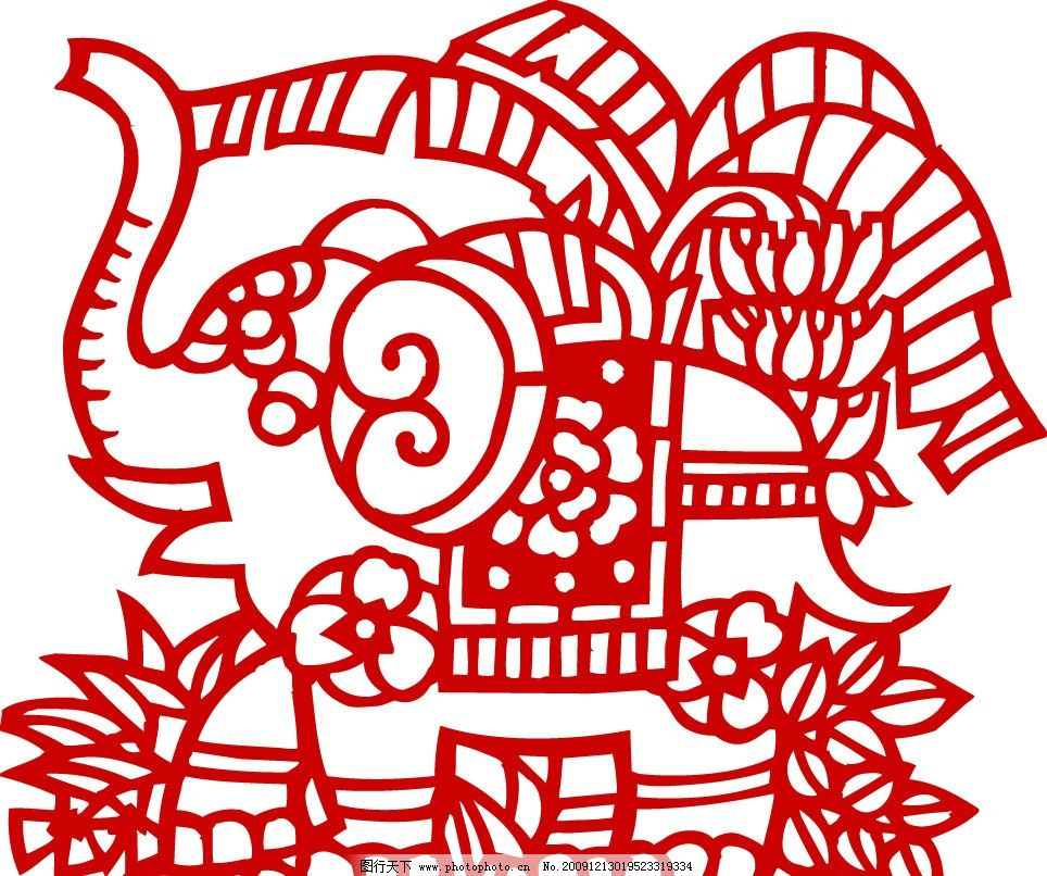 古典剪纸图案 大象 其他 节日素材 矢量 ai