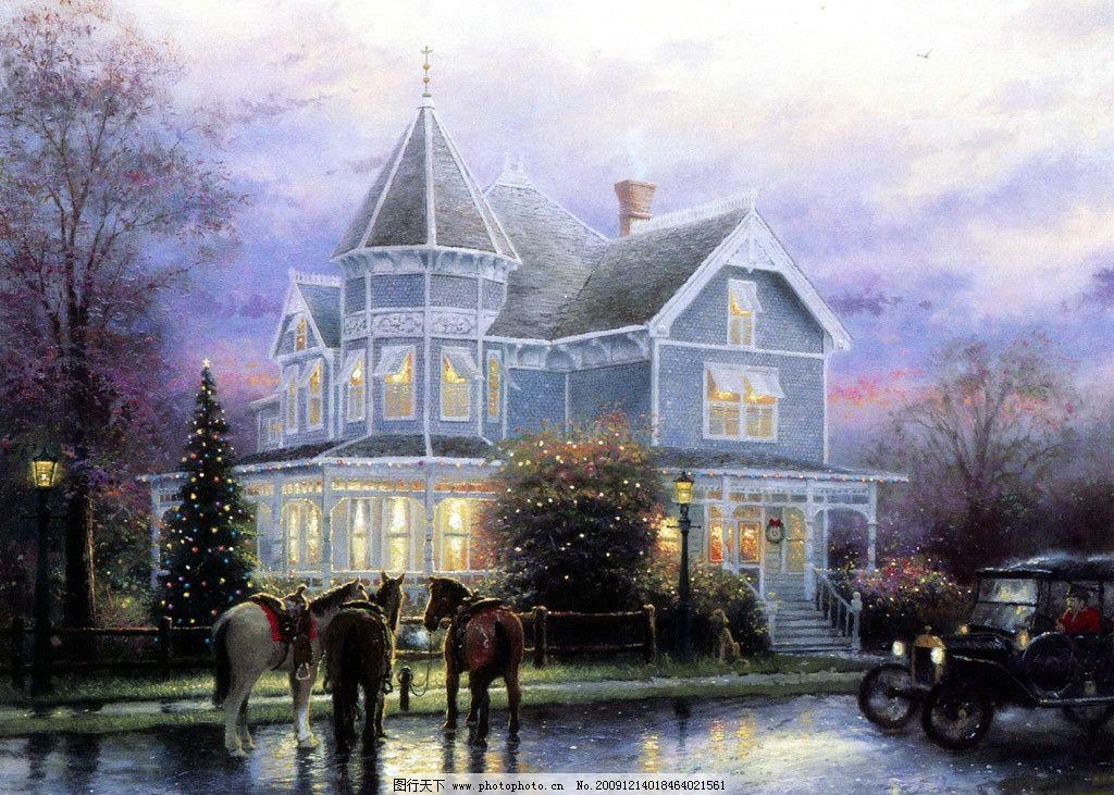 风景手绘漫画 城堡 雪花 马车 圣诞 灯光 动漫动画