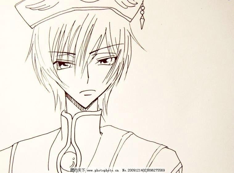 男生手绘简约头像线条