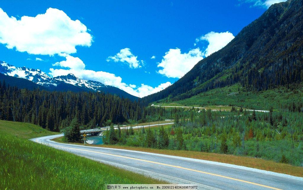 山水美景 迷人景色 路景 风光 风景 素材 背景 树林 草地 田野 草坪