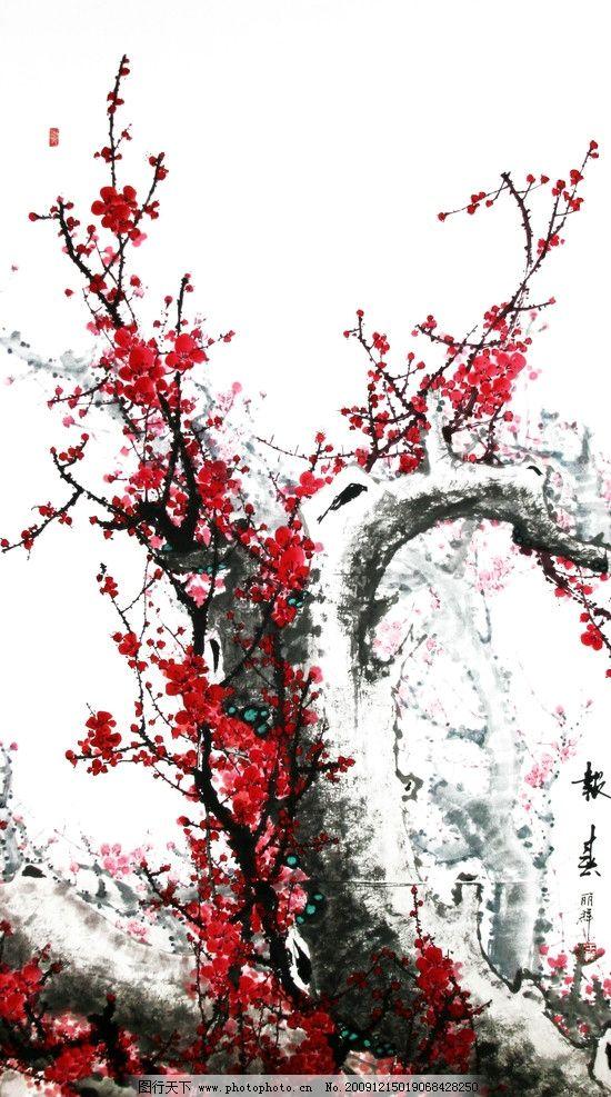 梅花 绘画 春天 美术绘画