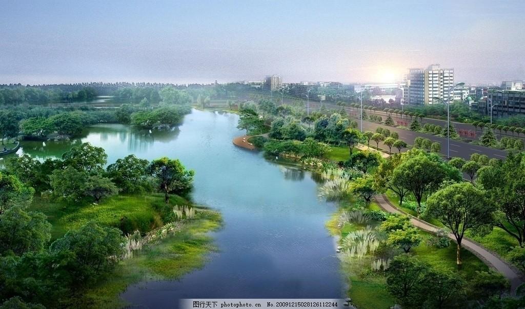 鸟瞰园林景观 河流 树林 建筑景观 建筑景观园林设计效果图