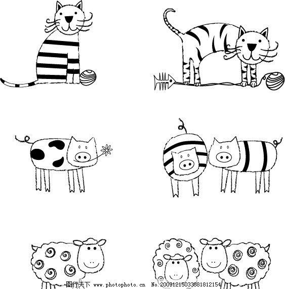 黑白动物图片